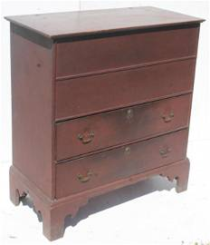 18thC 2 drawer lift top blanket chest w bracket feet &