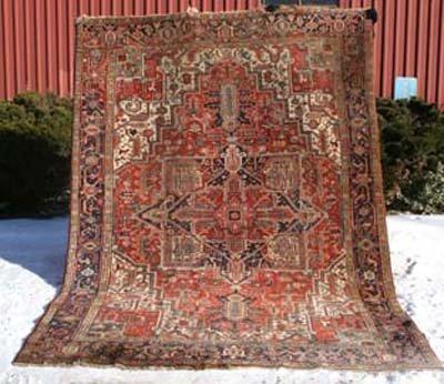 """11: antique 7'6""""x10'5""""  Persian Heriz Oriental Rug"""