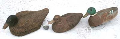 14A: lot of 3 antique duck decoys incl 1 w cork body -1