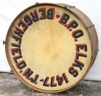 16: B.P.O. Elks 1477 Bergenfield, NJ bass drum ca 1900