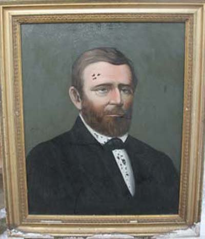 17: 19thC reverse painting on glass of General Grant