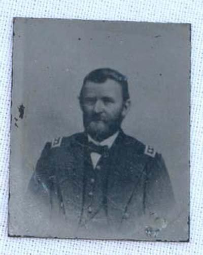 """18: minitaure (1 1/4"""" x 1"""") 19thC tintype of US Grant"""