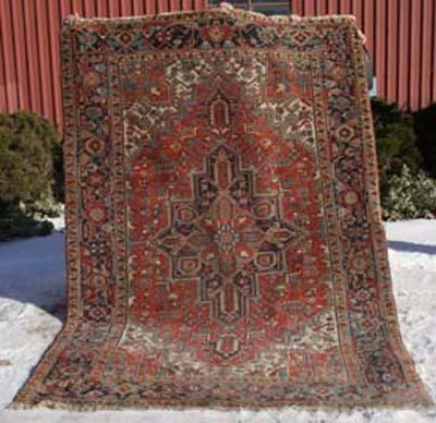 """21: 6'5""""x9'2"""" antique Persian Heriz Oriental Rug"""