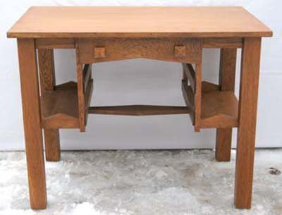 30: vintage Mission oak small desk or library table - 3