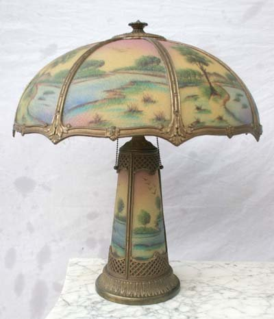 58: beautiful reverse painted panel lamp on matching li