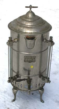 "204A: 30 1/2"" tall plated antique coffee urn w label an"