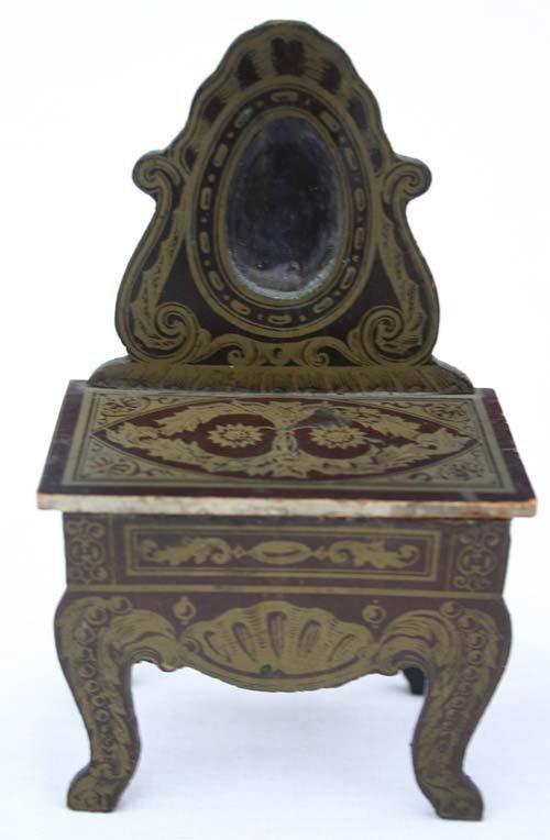 4: ca 1870 rare Biedermeier dollhouse vanity w extremel