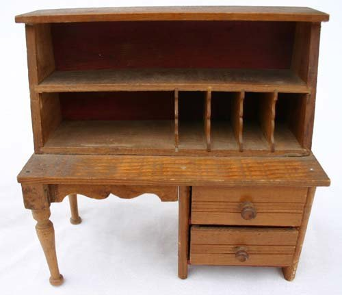 """6: ca 1910-1920 oak doll's  desk - 8"""" tall x 8"""" wide"""