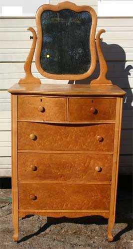 - 20: Antique Birdseye Maple Dresser W Mirror
