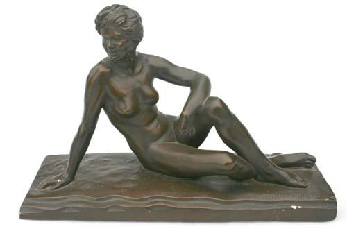 23: sgnd Malvina Hoffman sculpture of a seated woman pl