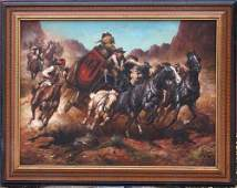 303 very large sgnd  36x48 oc Stagecoach American We
