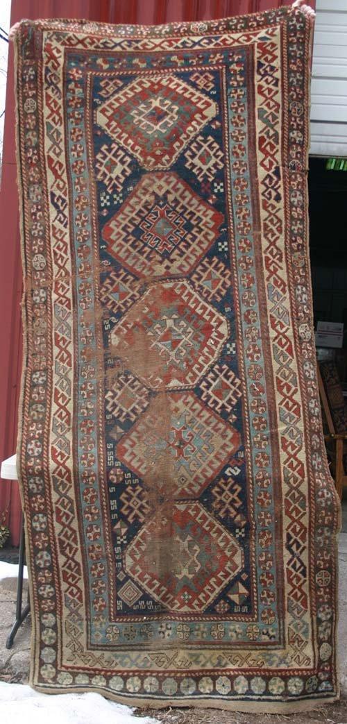 "2: 4'2"" x 9'4"" antique estate fresh Kazak Oriental Rug"