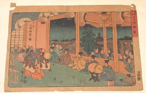 3: 2 antique Japanese woodblock prints by Hiroshige