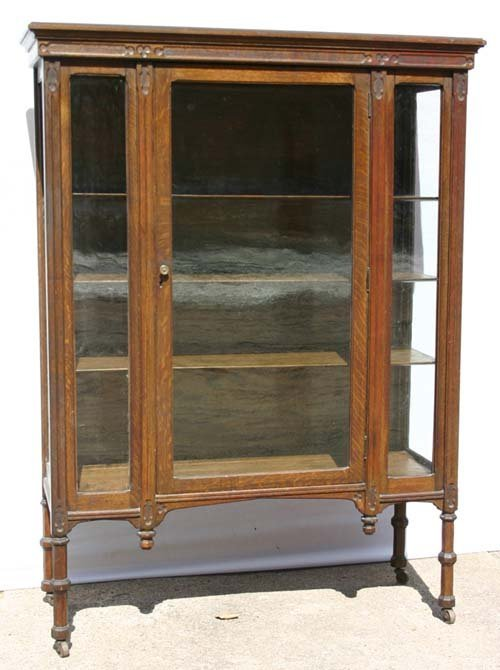 5: Fine quality antique oak carved china cabinet - 65""