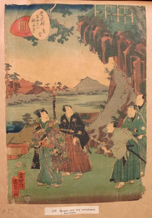 7: 2 antique Japanese woodblock prints - 1 by Kunisada