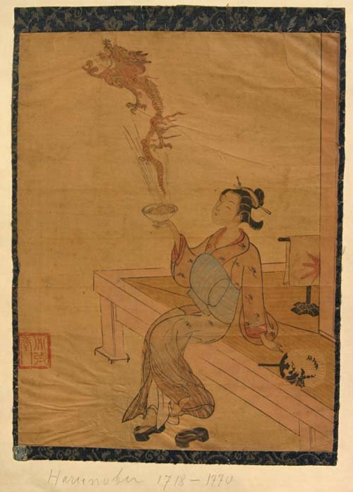 8: 2 antique Japanese woodblock prints - 1 by Harunobu