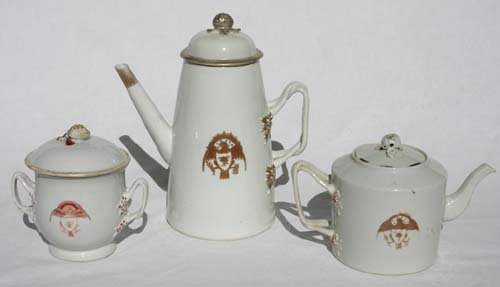 9: Chinese Export Armorial (w eagle) tea & coffee pots
