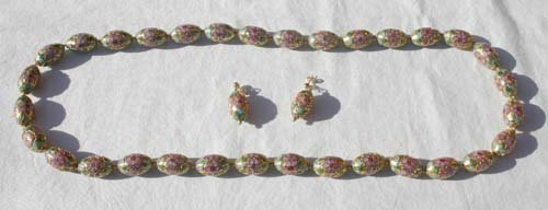 10A: Antique Chinese lg bead necklace & earring set w b