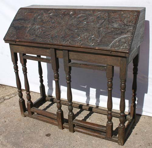 15: Centennial Wm & Mary style oak carved desk