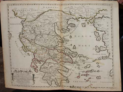"""17: 1699 hand colored map """"Graeciae Antiquae""""- 23 3/4 x"""