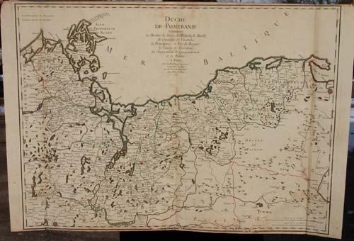 """18: 1757 hand colored map """"Duche de Pomeraniae"""" - 29 1/"""