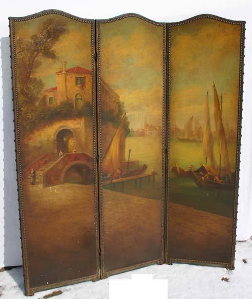 20: Very fine antique 3 section screen w beautiful Vene