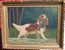 212 Sgnd AM large 26x36 oc fine sporting painting o