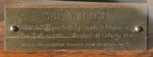 "229: cased ""Sea Witch"" clipper ship model by Le Baron B - 2"