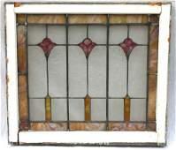93A: Antique leaded stained glass window w fleur de lis