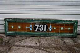 122B: Antique leaded stained glass transom window with