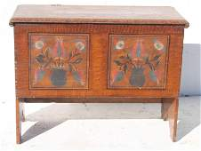Antique blanket chest w later paint decoration
