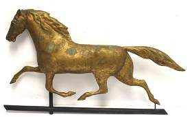 late 19thC copper horse weathervane in old gilt surface