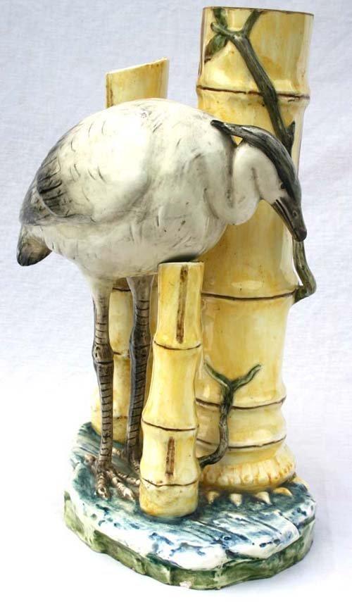 "4: 19 1/2"" tall Majolica center piece w egret & bamboo"