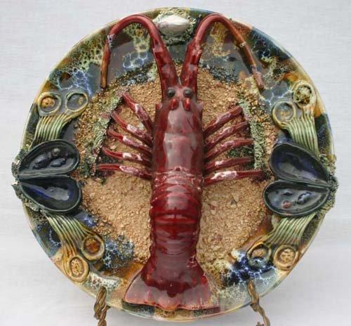 """8: 13"""" diam Majolica lobster & aquatic dec charger"""