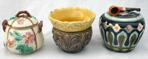 10: lot of 2 Majolica sugar bowls & 1 humidor