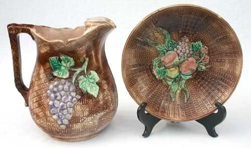 13: lot of 2 fruit dec antique Majolica items incl lg p
