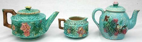 14: lot of 3 antique Majolica items incl matching teapo