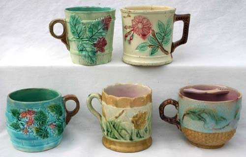 16: lot of 5 Majolica mugs incl 1 Griffin Smith & Hill