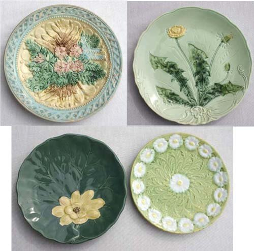18: lot of 4 Majolica dishes - largest & earliest is 8