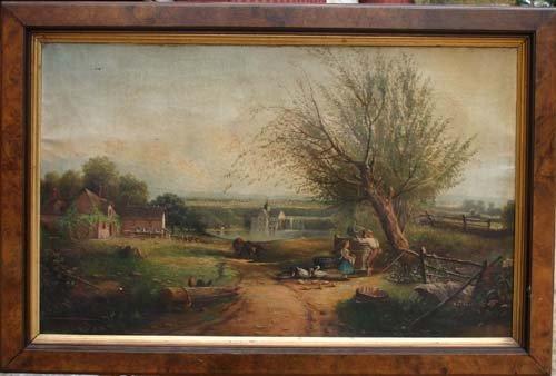22: 19thC unsgnd farm, mill & village landscape w many