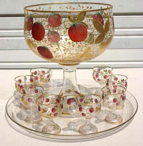 23: fine quality intaglio cut strawberry dec punch bowl