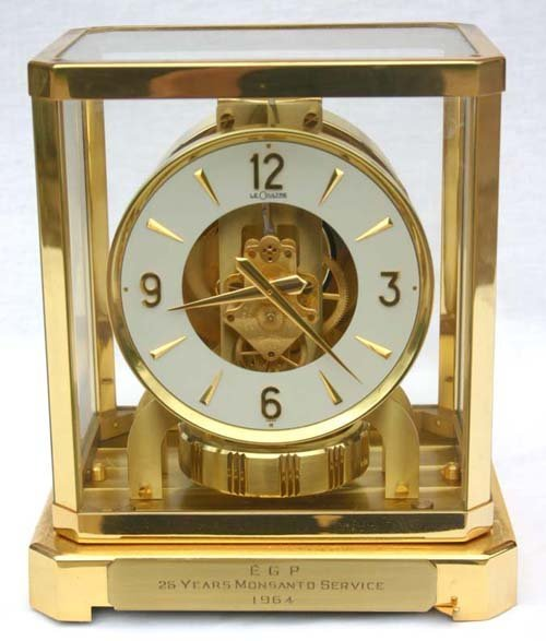 202: Le Coultre brass & glass Atmos clock