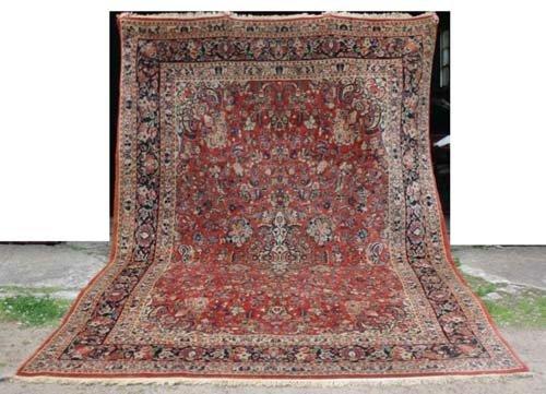 """1: 8'8""""x13' antique Sarouk Oriental Rug"""