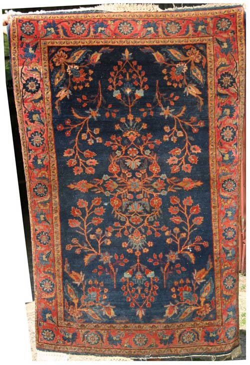"2: 3'5""x5' antique blue Sarouk Oriental area Rug"