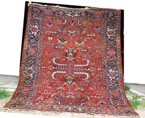 """9: 7'10"""" x 10'8"""" antique Heriz Oriental Rug"""