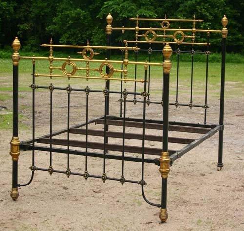 22: Very fancy Victorian brass & iron bed