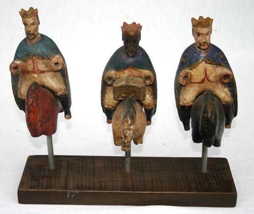 124: 19thC triple carved wood & orig polychrome ptd San