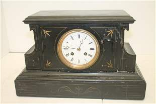 "French slate ca 1890 mantle clock - 9 1/2"" tall x 15"""