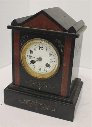 "ca 1890 French slate mantle clock - 9 1/4"" tall x 7"""