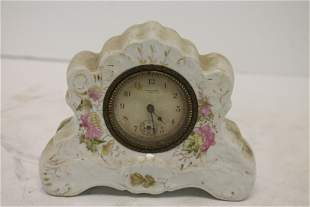 "New Haven Porcelain clock - 4 1/2"" tall x 5 3/4"" wide"